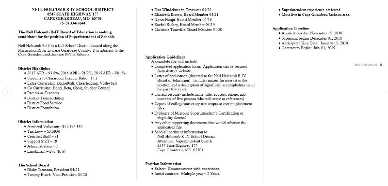 Nell Holcomb R Iv School District Superintendent Job Vacancy